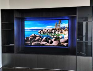 "Sony 98"" television built in"